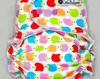Custom Cloth Diaper or Cover - Jellybean Hedgies - You Pick Size and Style - Made to Order Nappy or Wrap - Rainbow Hedgehogs