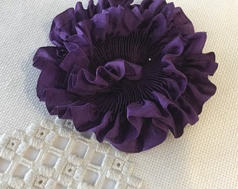 """Pleated Rich Purple 100% Silk Ribbon 1-1/4"""" wide 1 Meter long, great for flowers or doll costuming"""