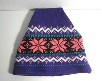 Ski Hat - Wool Winter Beanie - Purple, Neon Salmon Nordic Snowflake Design - Vintage 1980s - Adult One Size