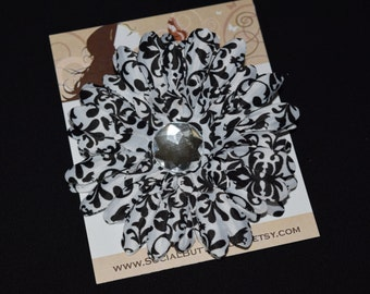 Black and White Flower Hair Clip - Buy 3 Items, Get 1 Free