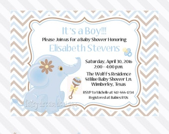 Baby Boy Blue Elephant Baby Shower Invitation (DIY PRINTABLE) - Design No. 180