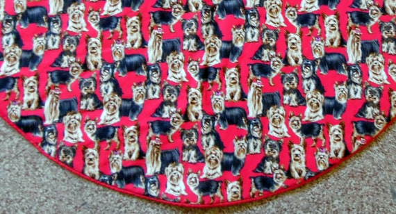 Yorkshire Terrier Christmas Tree Skirt, Yorkie Tree Skirt, Dog Lover Tree Skirt, Red Christmas Tree Skirt