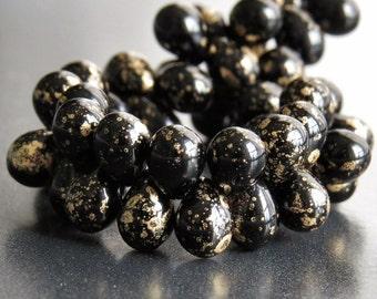 Black Gold 5x7mm Czech Glass Bead Teardrop : Full Strand 50 pc Black Teardrop