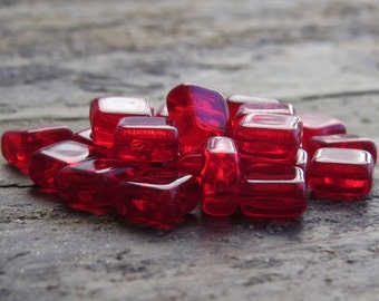 Siam Ruby Transparent Czech Glass Bead 6mm Square Tile : 25 pc Red Bead