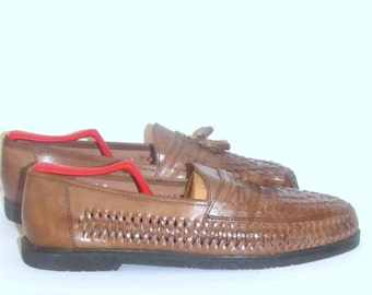 Sz 11D  Loafers  Mens Woven Loafers  Brown Leather Tassel Loafers
