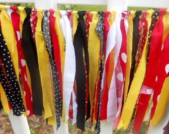 Chair Rag Tie Garland, Rag Fringe Banner, Birthday Banner in Boy Girl Nursery Photo Prop