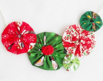 Christmas Necklace YoYo Statement Necklace Fabric YOUR CHOICE Holiday Fall Halloween Autumn