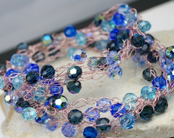 Swarovski Necklace, Crystal Necklace, Wire wrapped necklace, Beaded necklace, Blue necklace, Artisan necklace