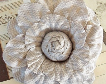 Cabbage Rose / Floral Brooch / Champagne / Pin Corsage