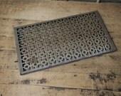 Vintage metal grate vent cover screen  architectural restoration Retro graphic pattern