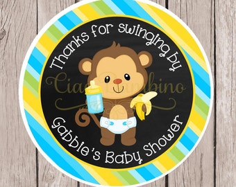 PRINTABLE Monkey Baby Shower Favor Tags in Blue, Yellow & Green / Print Your Own Baby Boy Monkey Stickers / You Print  - 0034