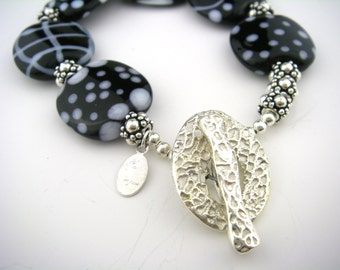 Lampwork Glass Bead Bracelet in black and white toggle clasp