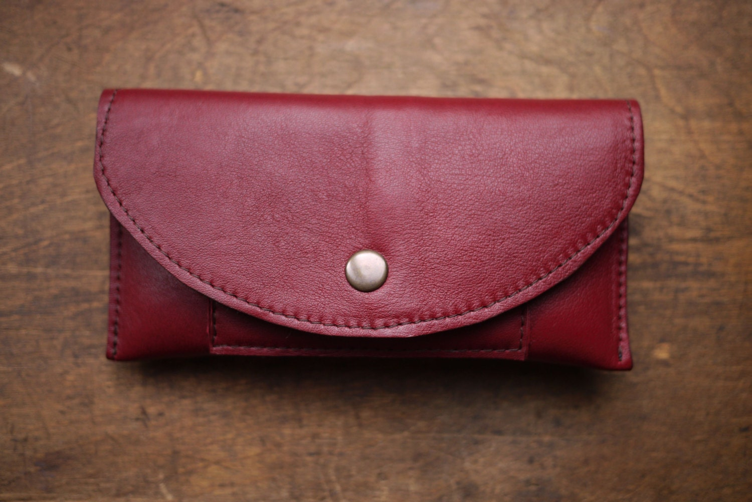 OOAK UPCYCLED Dark Cherry Red Leather Tobacco Pouch