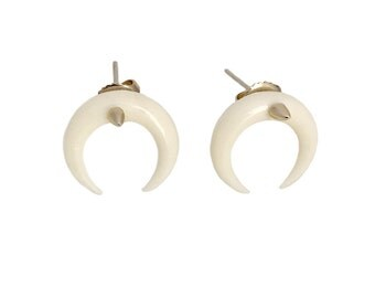 Crescent Earrings      moon spike white tusk horn gold silver stud post jewelry