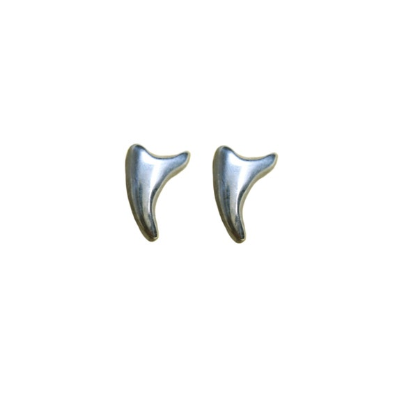 TUSK EARRINGS stud post chihuahua fang tiny sterling silver