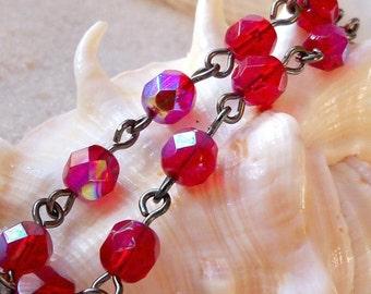 Glass Beaded Jewelry - Glass Beaded Bracelet - Simple Red Bracelet - Red Bracelet - Beaded Bracelet - Ruby Red Glass Beaded Bracelet
