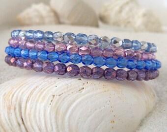 Beaded Bracelet - Gift for Her - Memory Wire Bracelet - Delicate Bracelet - Purple and Blue Bracelet - Gift for Women - Lightweight Bracelet