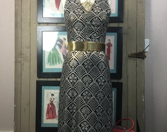 Sale 1960s dress maxi dress 60s gown size medium Vintage dress art deco print dress metallic dress gold dress formal dress