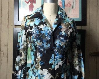 On sale 1940s floral blouse 40s silk shirt size medium Vintage blouse black flower print