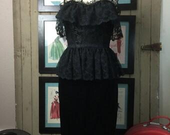 1980s dress black dress lace dress strapless dress Size medium Peplum dress cocktail dress satin dress 80s dress