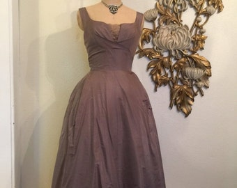 Fall sale 1950s gown evening gown vintage dress party dress full length gown 26 waist cocoa brown dress