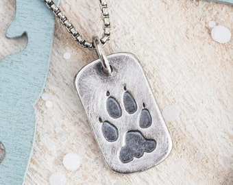 Personalized Paw Print Men's Dog Tag Necklace with your pets actual paw print, Cat's paw print, dog's paw print, in memory,