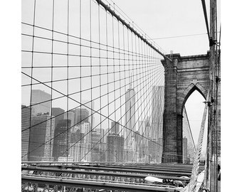 Set of Two Brooklyn Bridge - Manhattan - NYC - Abstract - Black and White - Color Print