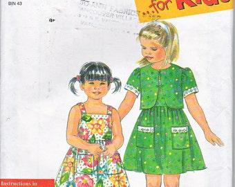 Simplicity 8029 Girls Sundress Jacket Sash Patch Pockets Gathered Skirt Bolero Easy Sewing Pattern Sizes 2-6X Out of Print UNCUT