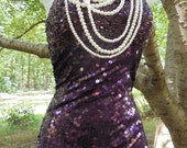 Purple beaded dress sequin vintage  cocktail evening party showgirl burlesque cabaret  small medium from vintage opulence on Etsy