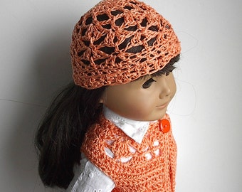 18 Inch Doll Clothes Crochet Cotton Long Bolero Sweater Vest and Hat Handmade to Fit the American Girl and other Dolls - You Choose Color