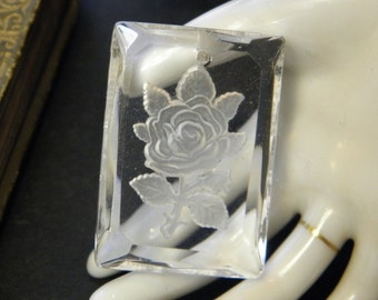 Vintage Glass Intaglio Rose Pendant Finding Jewelry Supply