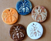 5 Handmade Ceramic Bee Beads - Stoneware Pendants with a Charming Bees - Bumblebee - Autumn colors - rust bee - denim bee - neutral