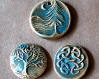 3 Handmade Stoneware Beads - Olive Green Glaze - Celtic Beads - Tree of Life, Moon over Cedars and Celtic Knot