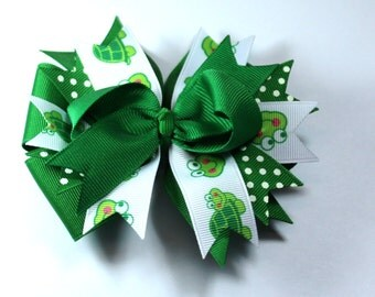 Boutique Green Turtle Hair Bow Clip