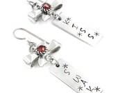 Hand Stamped Earrings, Bow Earrings, Valentines Day Gift, Birthstone Earrings, Birthday Gift, Crystal Drop Earrings