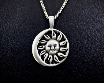 Strong Sun Moon (June) Necklace in Sterling Silver