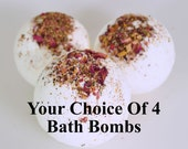 Bath Bomb Set - Your choice of 4 Bath Bombs, Bath Fizzie - Bath Bomb Set
