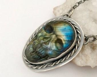 Silver Labradorite Skull Necklace, Boho Style Skull Pendant, Bohemian Metalwork, Boho Chic, Boho Style, Gyspy Jewelry, Metalsmithed Jewelry