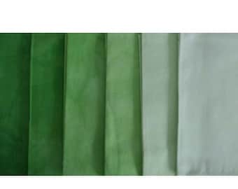Clear GREEN Shades - hand dyed Fabric - 6 pc Fat Quarter Gradation Bundle - Tuscan Rose CG801