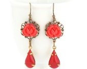 Sale - Red Flower Earrings, Dangle Earrings, Red Vintage Jewels, Vintage Style Earrings, Red Floral Earrings, Scarlet Red, Gift For Woman