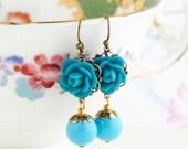 Sale - Teal dangle earrings - teal flower earrings, antique brass, vintage inspired, Dangle Earrings, Gift For Woman, Valentines Gift