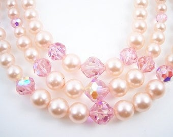 Vintage Laguna Pearl Crystal Necklace