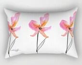 Pink Flower Pillow, Poppy, Poppies Home Decor Rectangular Pillow, Decorative, Contemporary, Watercolor, Original Kathy Morton Stanion  EBSQ