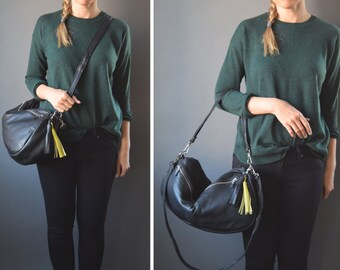 The FURROW leather black bag / BLACK leather bag with zippers