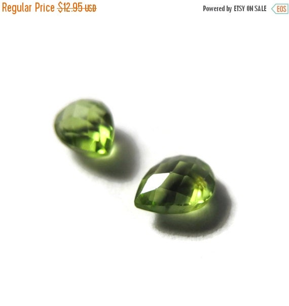 Labor Day SALE - Two NON DRILLED Peridot Gemstones, Matching Bright Green Stones for Making Jewelry & Setting, 8x6mm Teardrop Gemstone (Luxe
