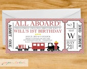 All Aboard- Train Ticket Party Invitation - Digital File or Printed