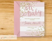 Baby pink  - Baby Girl Glitter and Sparkle Baby Shower Invitation - Digital File or Printed