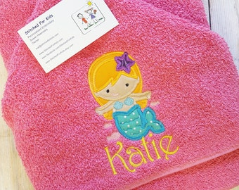 Mermaid Hooded Towel with Personalization Custom Monogrammed