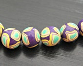 Set of Six Round Shaped Polymer Clay Artisan Made Beads in Dark Purple With Turquoise Green Lemon and Lavender Millefiore Cane Slices