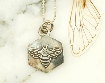 Honeybee Hexagon Pendant - Sterling Silver Bee Necklace, Nature Jewelry